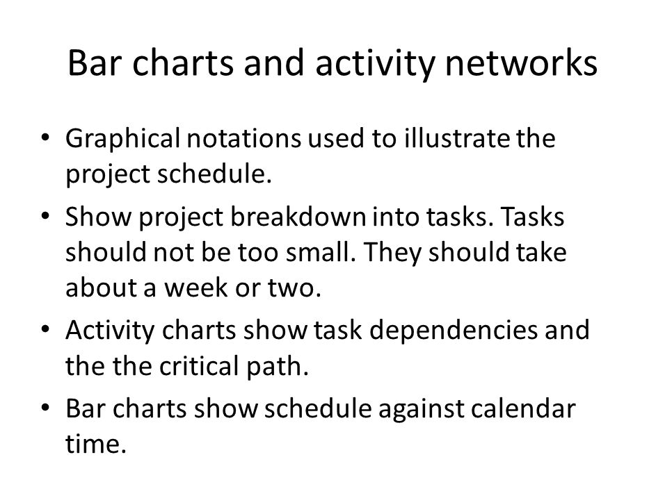 Bar charts and activity networks Graphical notations used to illustrate the project schedule.