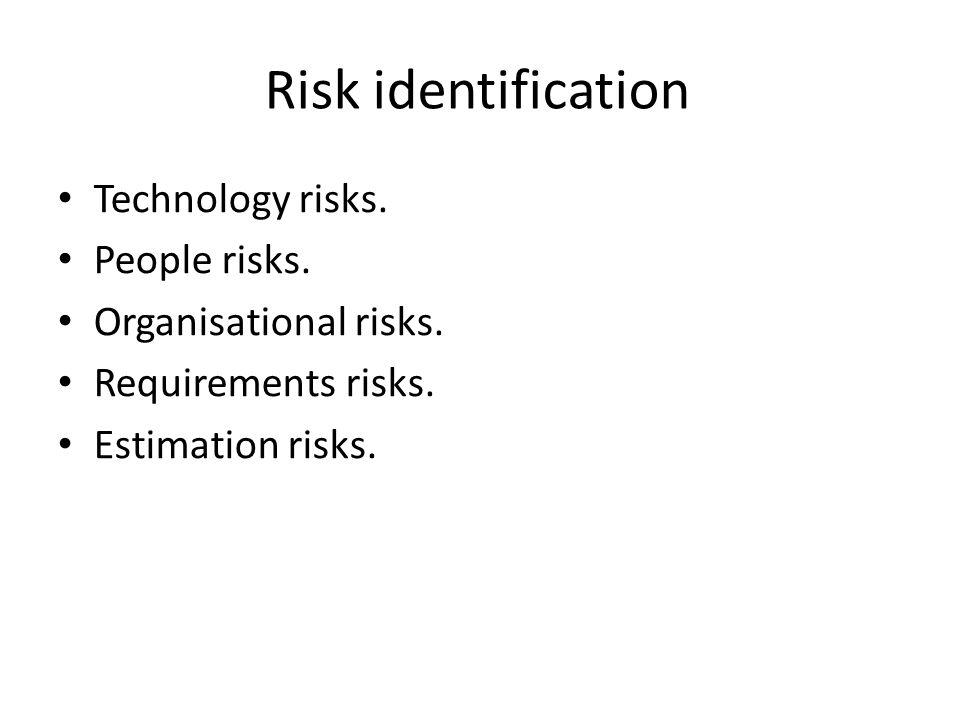 Risk identification Technology risks. People risks. Organisational risks. Requirements risks. Estimation risks.