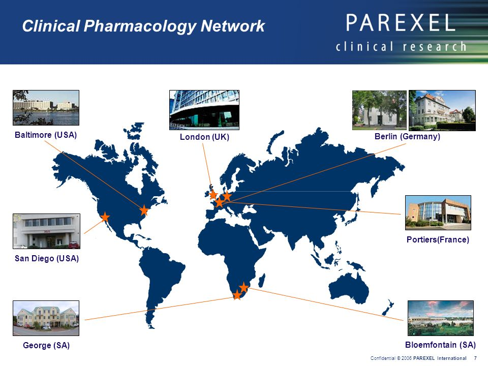 Confidential © 2006 PAREXEL International 7 Clinical Pharmacology Network Berlin (Germany) Portiers(France) Bloemfontain (SA) London (UK) Baltimore (U
