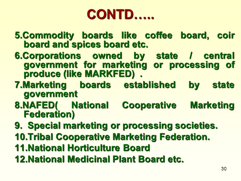 30 CONTD….. 5.Commodity boards like coffee board, coir board and spices board etc. 6.Corporations owned by state / central government for marketing or