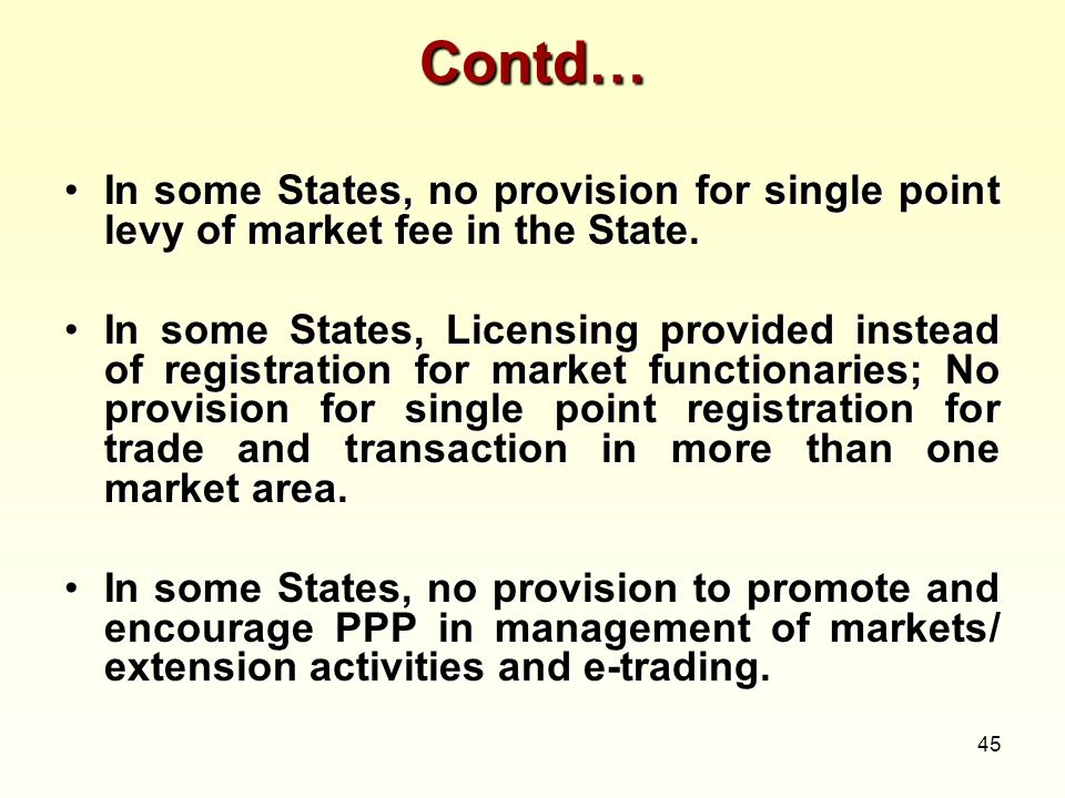 45 Contd… In some States, no provision for single point levy of market fee in the State.In some States, no provision for single point levy of market f