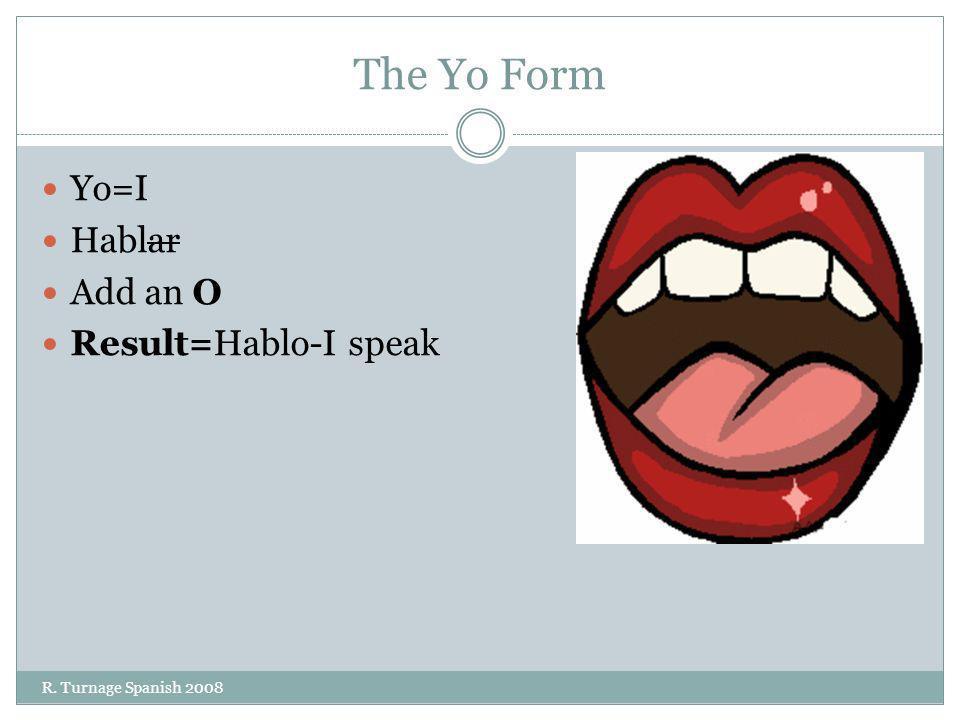 The Yo Form Yo=I Hablar Add an O Result=Hablo-I speak R. Turnage Spanish 2008