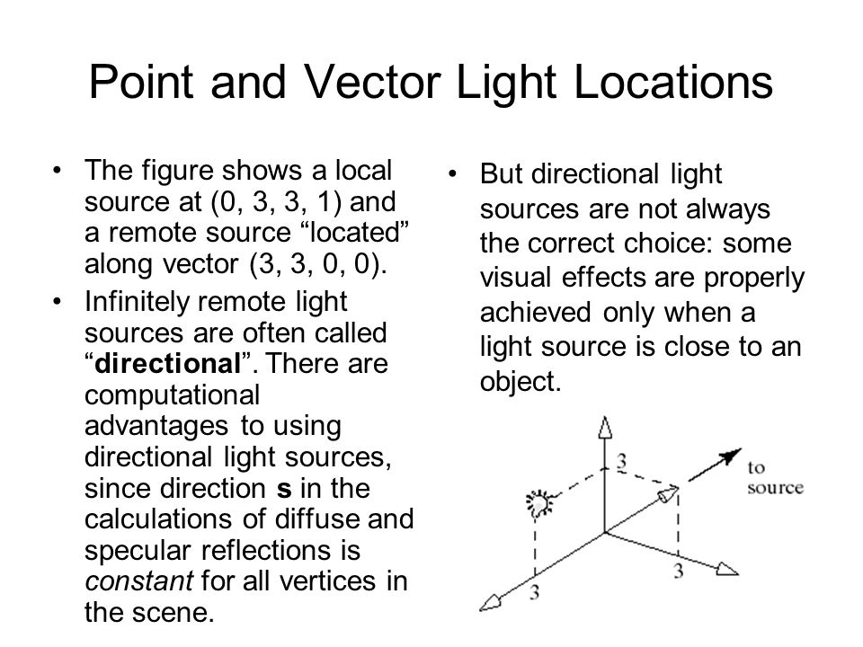 Point and Vector Light Locations The figure shows a local source at (0, 3, 3, 1) and a remote source located along vector (3, 3, 0, 0). Infinitely rem