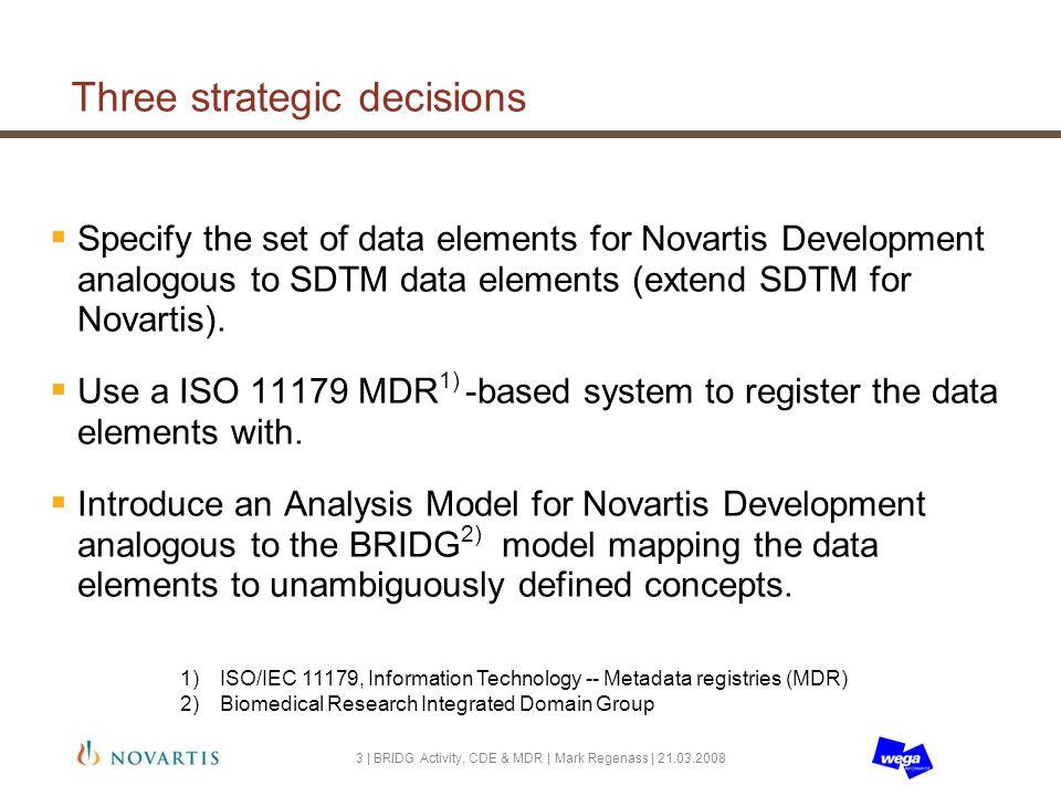 Three strategic decisions Specify the set of data elements for Novartis Development analogous to SDTM data elements (extend SDTM for Novartis).