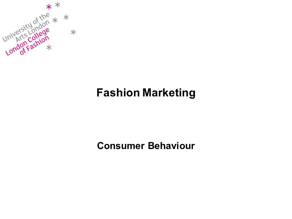 Fashion Marketing Consumer Behaviour