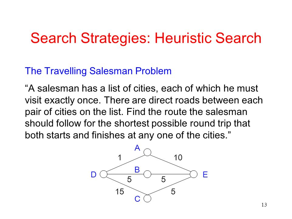 13 Search Strategies: Heuristic Search The Travelling Salesman Problem A salesman has a list of cities, each of which he must visit exactly once. Ther