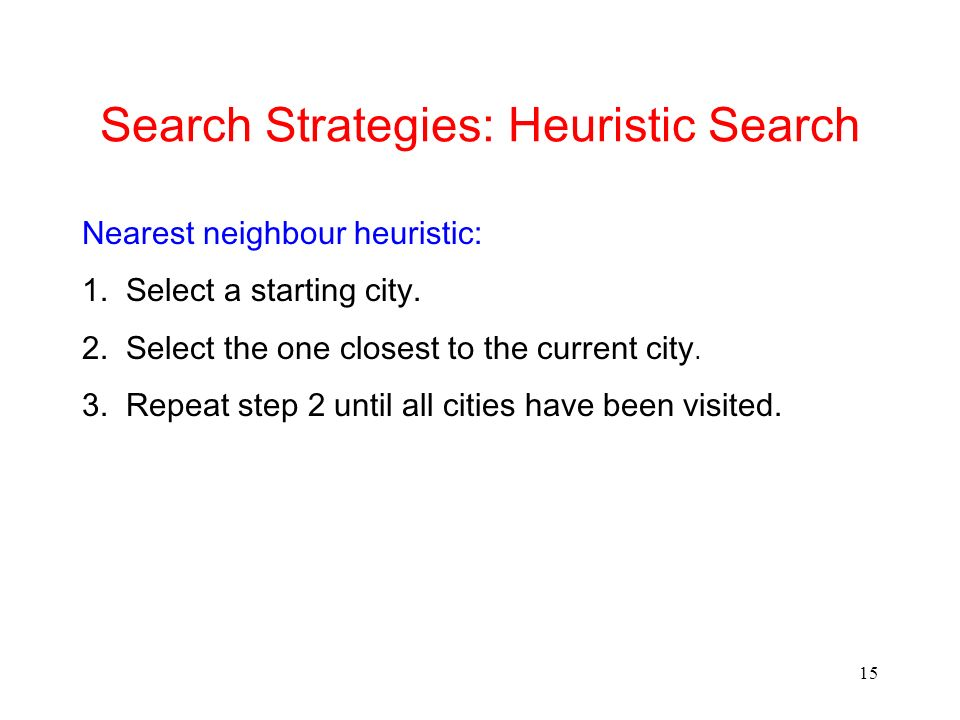 15 Search Strategies: Heuristic Search Nearest neighbour heuristic: 1. Select a starting city. 2. Select the one closest to the current city. 3. Repea