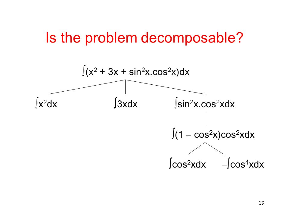 19 Is the problem decomposable? (x 2 + 3x + sin 2 x.cos 2 x)dx x 2 dx 3xdx sin 2 x.cos 2 xdx (1 cos 2 x)cos 2 xdx cos 2 xdx cos 4 xdx