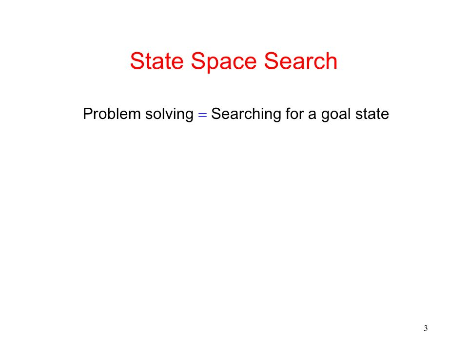 3 State Space Search Problem solving Searching for a goal state