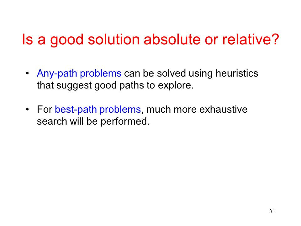 31 Is a good solution absolute or relative.