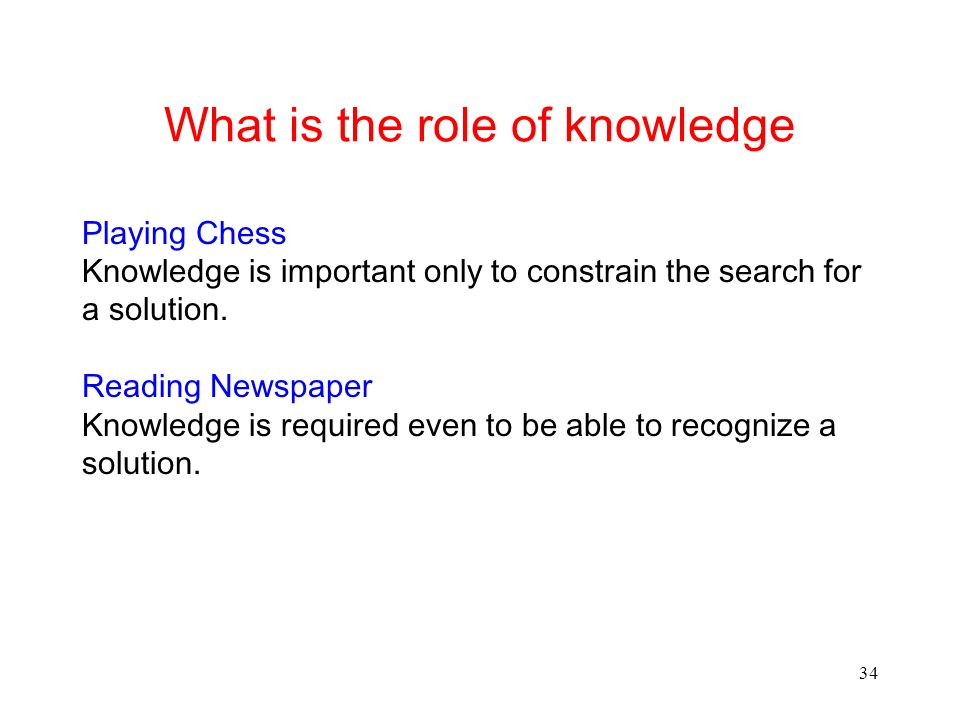 34 What is the role of knowledge Playing Chess Knowledge is important only to constrain the search for a solution.
