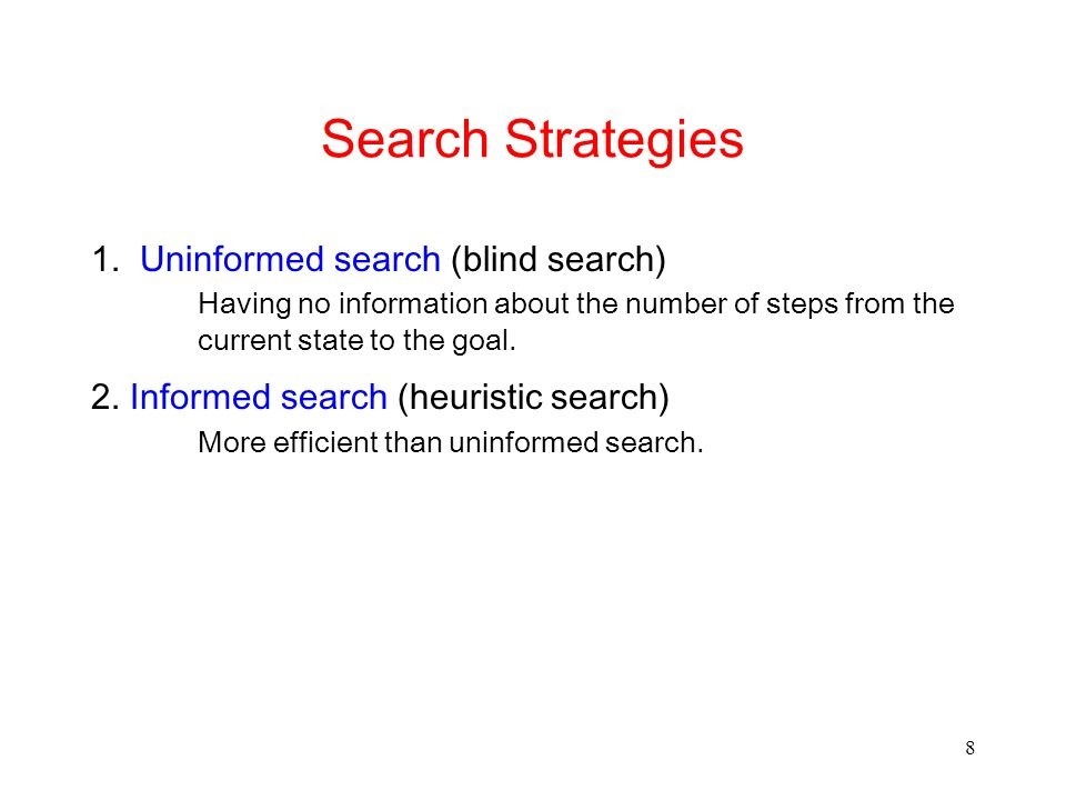 8 Search Strategies 1. Uninformed search (blind search) Having no information about the number of steps from the current state to the goal. 2. Informe