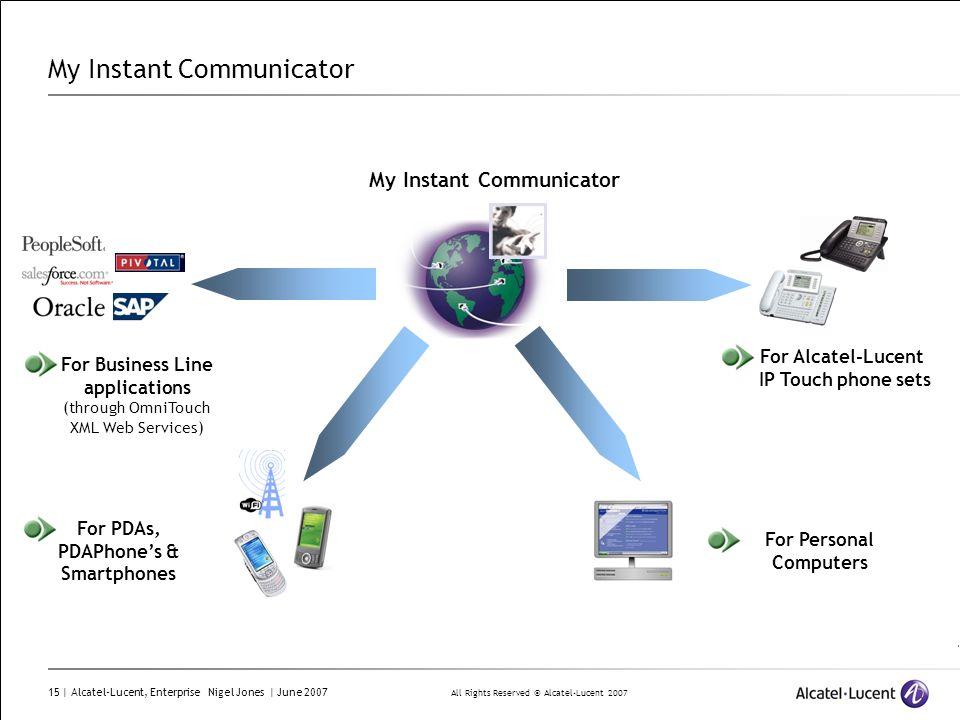 All Rights Reserved © Alcatel-Lucent 2007 15 | Alcatel-Lucent, Enterprise Nigel Jones | June 2007 My Instant Communicator For PDAs, PDAPhones & Smartp