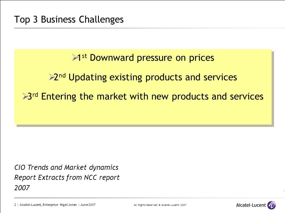 All Rights Reserved © Alcatel-Lucent 2007 2 | Alcatel-Lucent, Enterprise Nigel Jones | June 2007 Top 3 Business Challenges 1 st Downward pressure on p