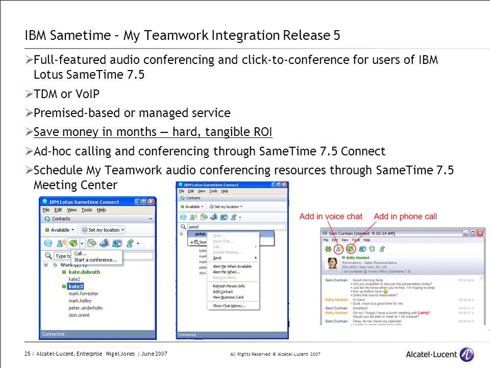 All Rights Reserved © Alcatel-Lucent 2007 25 | Alcatel-Lucent, Enterprise Nigel Jones | June 2007 IBM Sametime – My Teamwork Integration Release 5 Ful