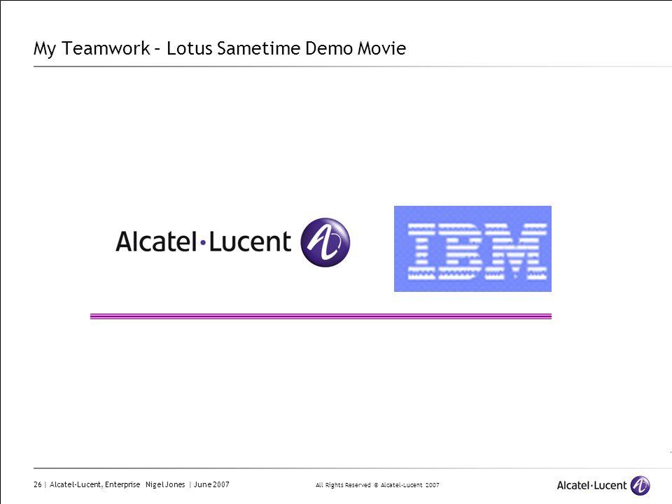 All Rights Reserved © Alcatel-Lucent 2007 26 | Alcatel-Lucent, Enterprise Nigel Jones | June 2007 My Teamwork – Lotus Sametime Demo Movie