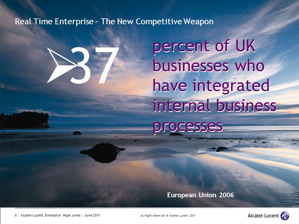 All Rights Reserved © Alcatel-Lucent 2007 6 | Alcatel-Lucent, Enterprise Nigel Jones | June 2007 Real Time Enterprise – The New Competitive Weapon 37