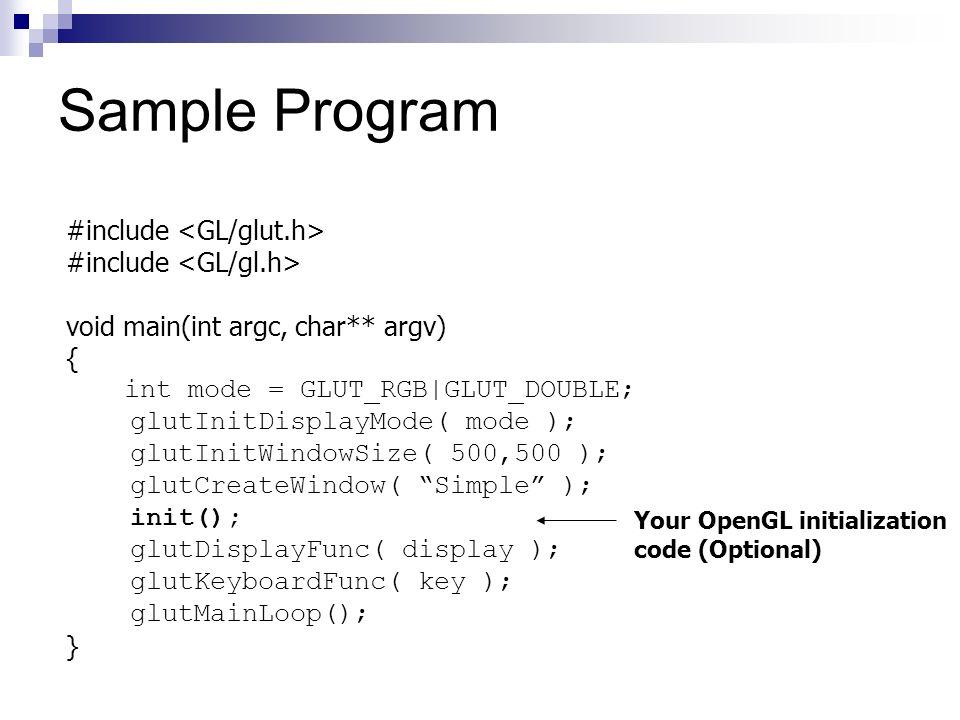 #include void main(int argc, char** argv) { int mode = GLUT_RGB|GLUT_DOUBLE; glutInitDisplayMode( mode ); glutInitWindowSize( 500,500 ); glutCreateWin