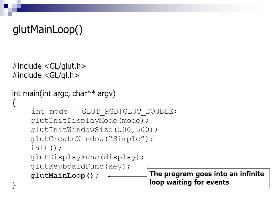 #include int main(int argc, char** argv) { int mode = GLUT_RGB|GLUT_DOUBLE; glutInitDisplayMode(mode); glutInitWindowSize(500,500); glutCreateWindow(S