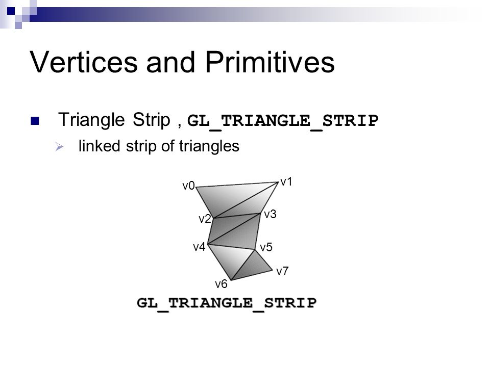 Vertices and Primitives Triangle Strip, GL_TRIANGLE_STRIP linked strip of triangles v0 v2 v1 v3 v4 v5 v6 v7