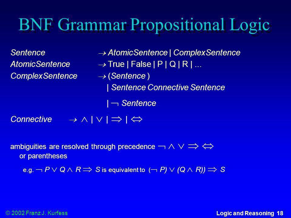 © 2002 Franz J. Kurfess Logic and Reasoning 18 BNF Grammar Propositional Logic Sentence AtomicSentence | ComplexSentence AtomicSentence True | False |