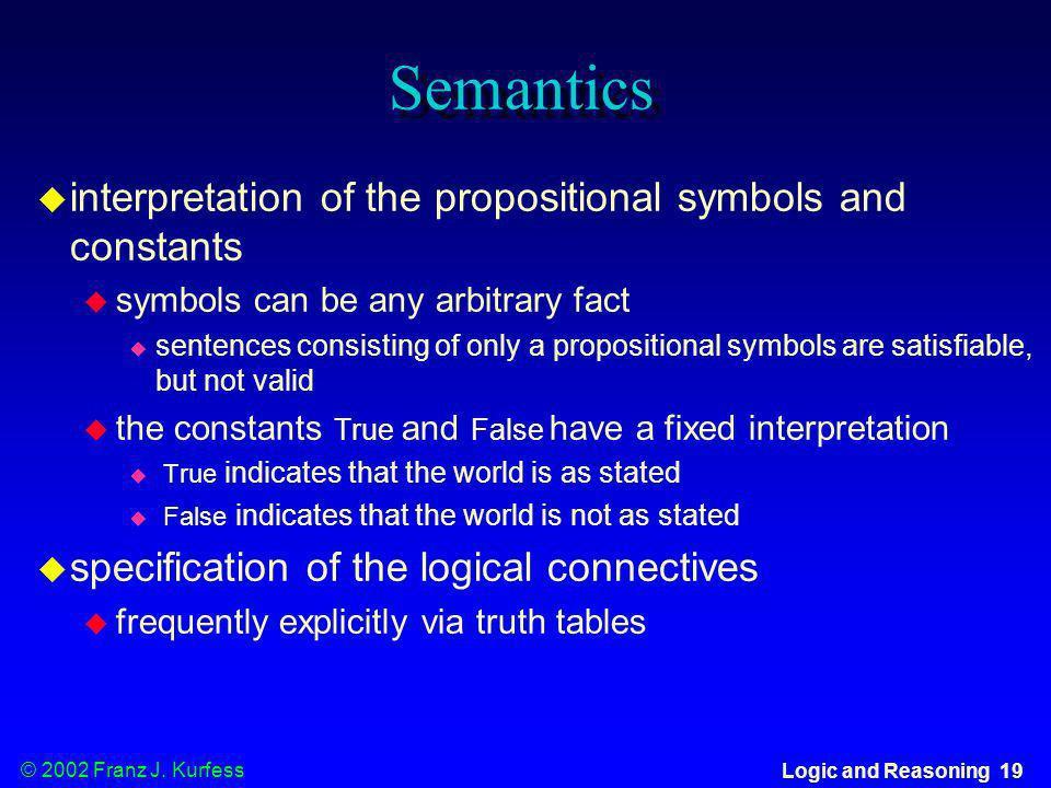 © 2002 Franz J. Kurfess Logic and Reasoning 19 Semantics u interpretation of the propositional symbols and constants u symbols can be any arbitrary fa