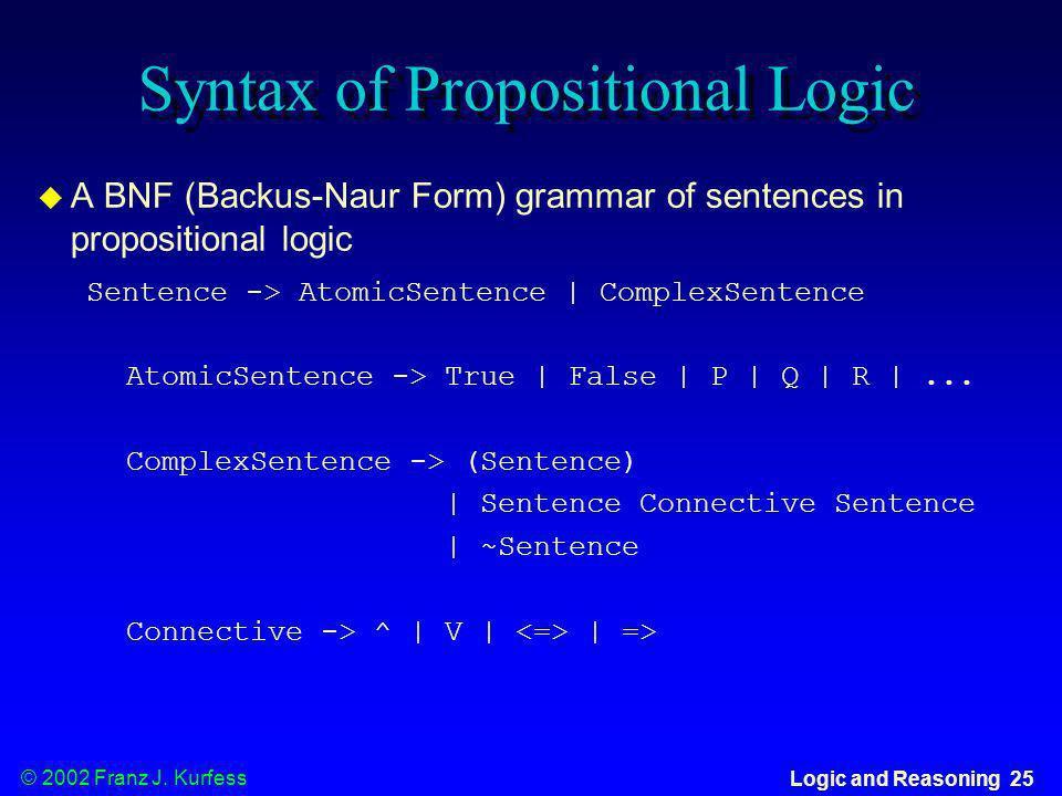 © 2002 Franz J. Kurfess Logic and Reasoning 25 Syntax of Propositional Logic A BNF (Backus-Naur Form) grammar of sentences in propositional logic Sent