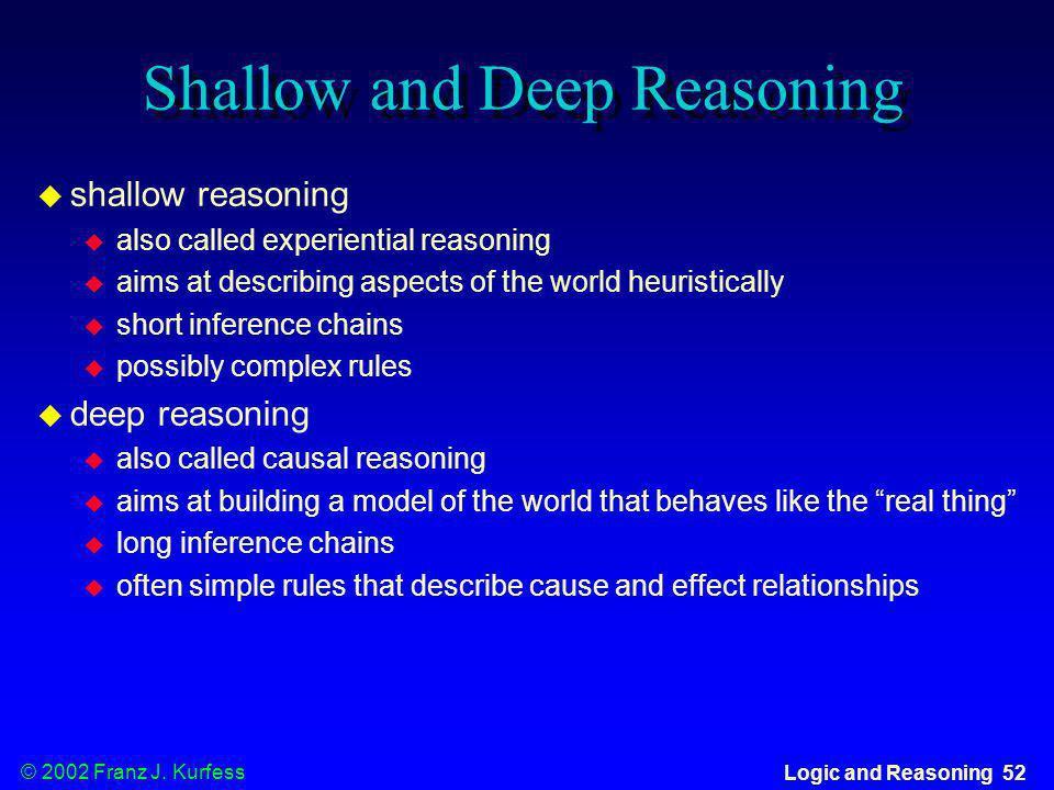 © 2002 Franz J. Kurfess Logic and Reasoning 52 Shallow and Deep Reasoning shallow reasoning also called experiential reasoning aims at describing aspe