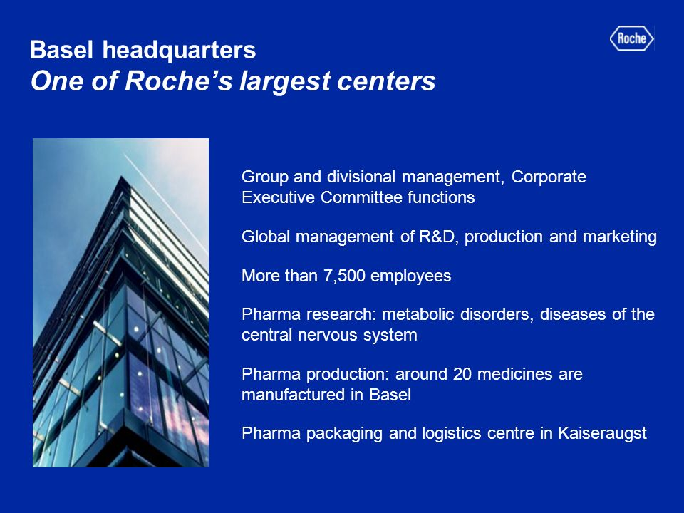Basel headquarters One of Roches largest centers Group and divisional management, Corporate Executive Committee functions Global management of R&D, production and marketing More than 7,500 employees Pharma research: metabolic disorders, diseases of the central nervous system Pharma production: around 20 medicines are manufactured in Basel Pharma packaging and logistics centre in Kaiseraugst