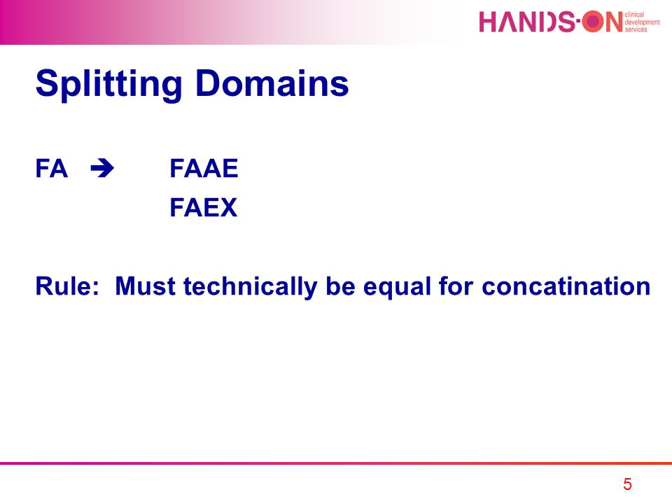 5 Splitting Domains FA FAAE FAEX Rule: Must technically be equal for concatination