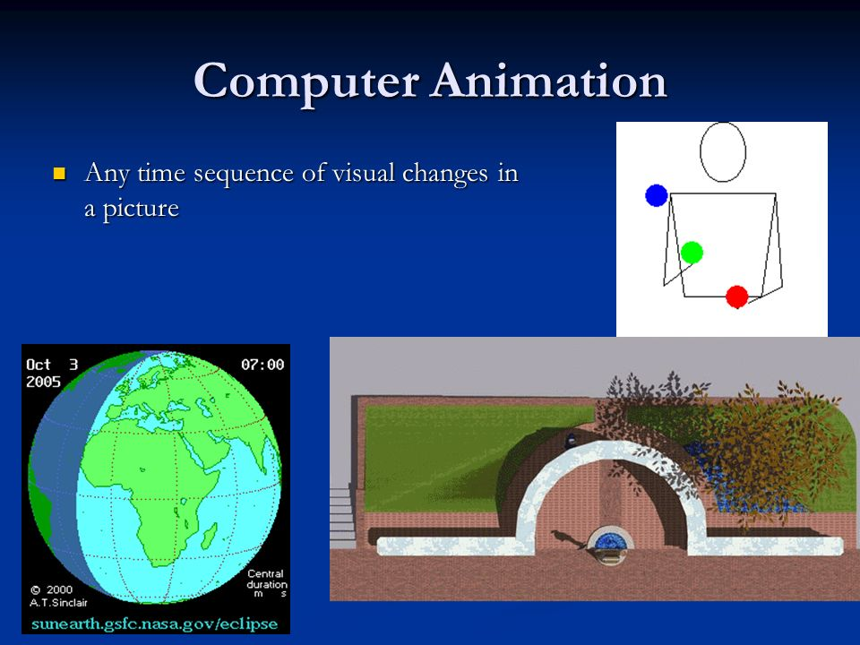Computer Animation Real-time animation Real-time animation Each stage of the sequence is viewed as it is created Each stage of the sequence is viewed as it is created Useful in simulators Useful in simulators Frame-by-frame animation Frame-by-frame animation Each frame of the motion is separately generated and stored Each frame of the motion is separately generated and stored Used for movies Used for movies