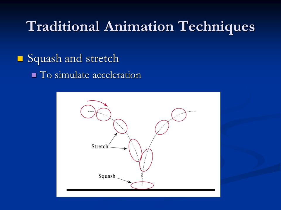 Traditional Animation Techniques Squash and stretch Squash and stretch To simulate acceleration To simulate acceleration