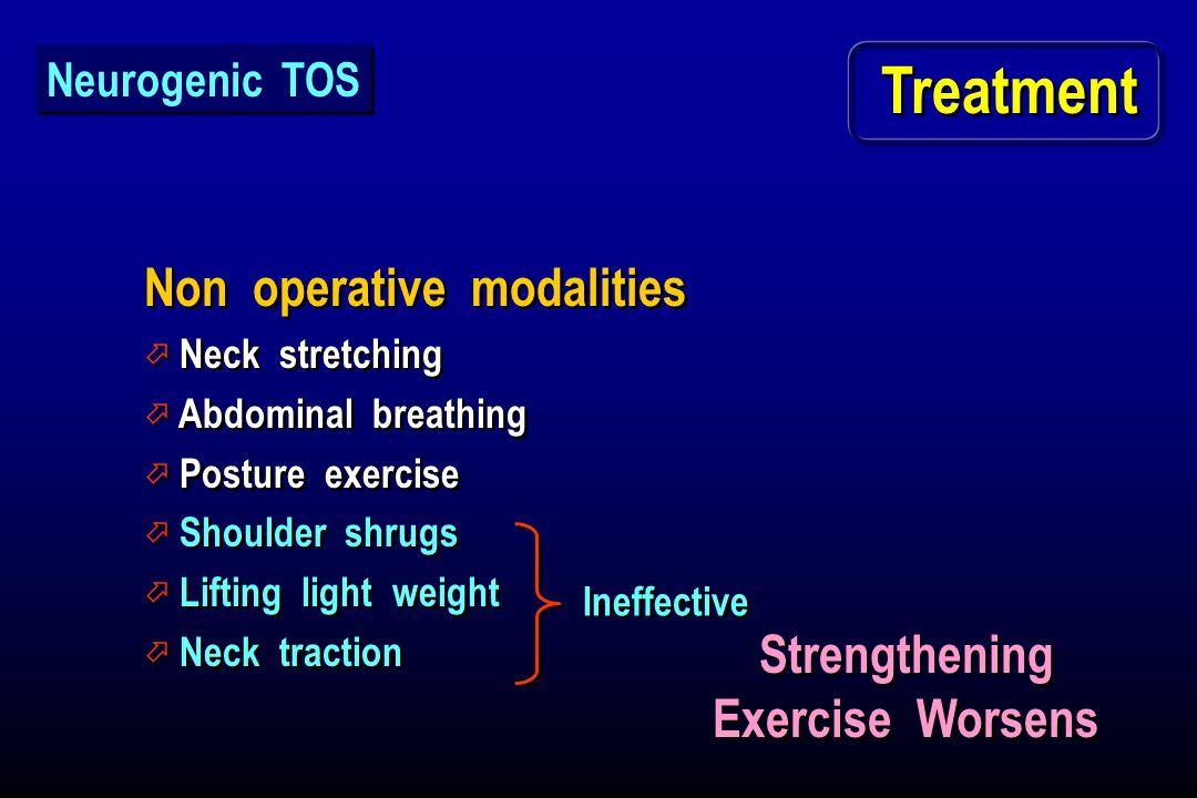 Treatment Non operative modalities ö Neck stretching ö Abdominal breathing ö Posture exercise ö Shoulder shrugs ö Lifting light weight ö Neck traction
