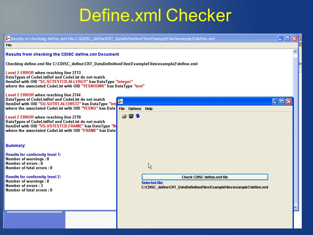 Define.xml Checker