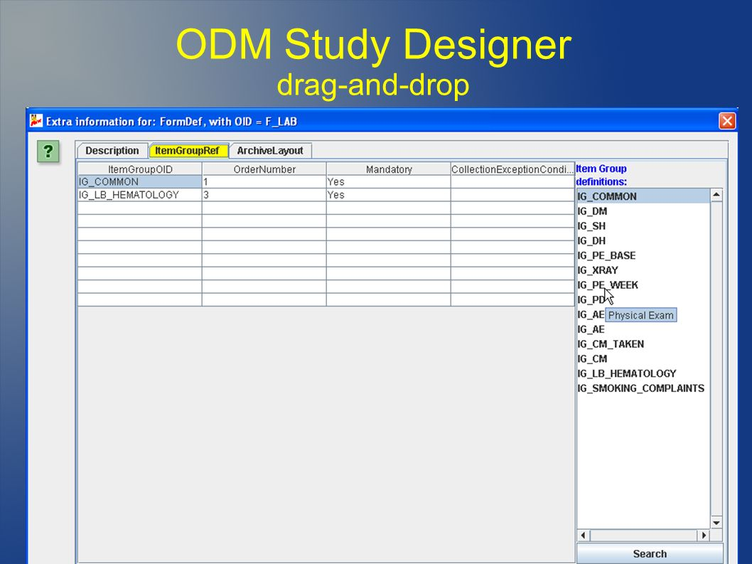 ODM Study Designer drag-and-drop