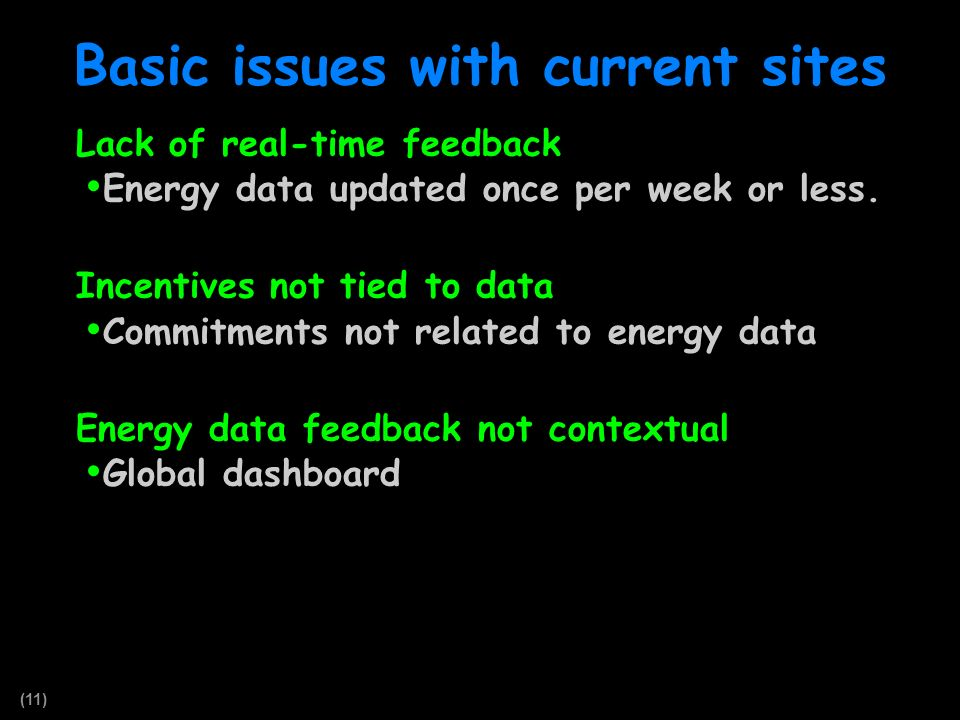 (11) Basic issues with current sites Lack of real-time feedback Energy data updated once per week or less. Incentives not tied to data Commitments not