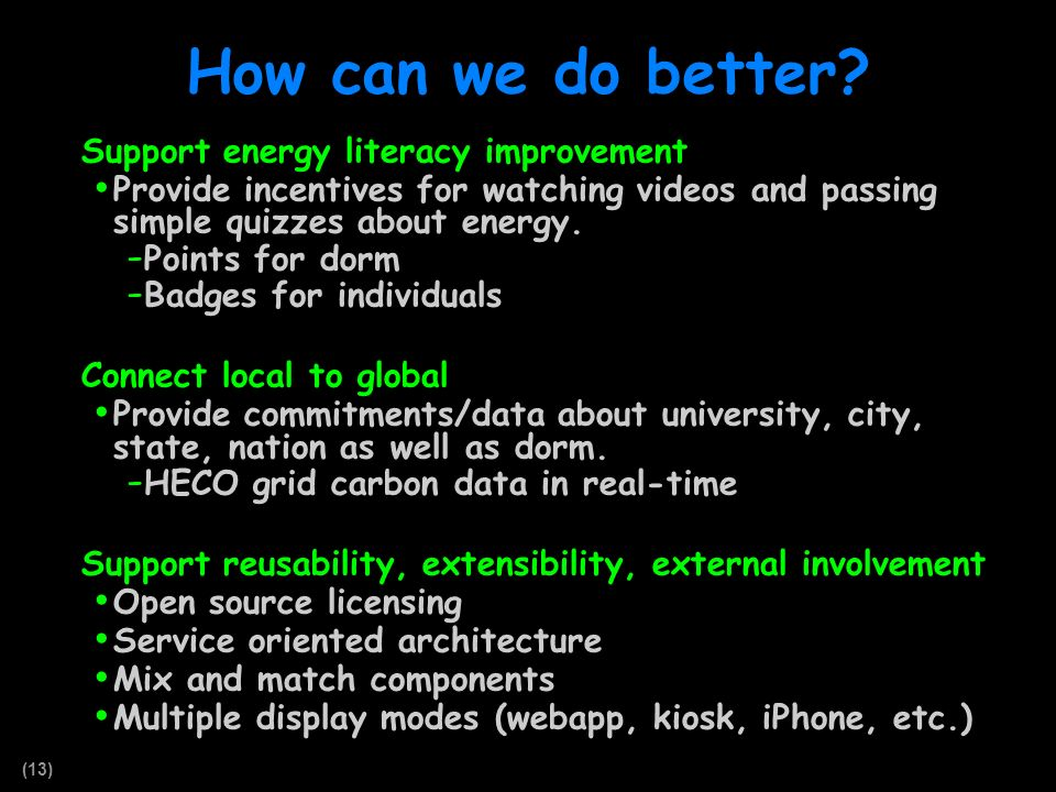 (13) How can we do better? Support energy literacy improvement Provide incentives for watching videos and passing simple quizzes about energy. - Point