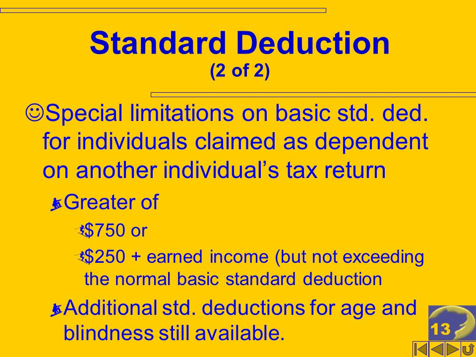 13 Standard Deduction (2 of 2) Special limitations on basic std. ded. for individuals claimed as dependent on another individuals tax return Greater o