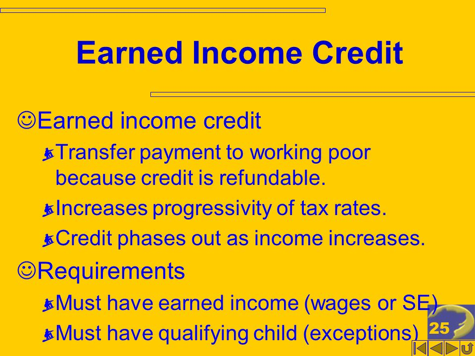 25 Earned Income Credit Earned income credit Transfer payment to working poor because credit is refundable. Increases progressivity of tax rates. Cred