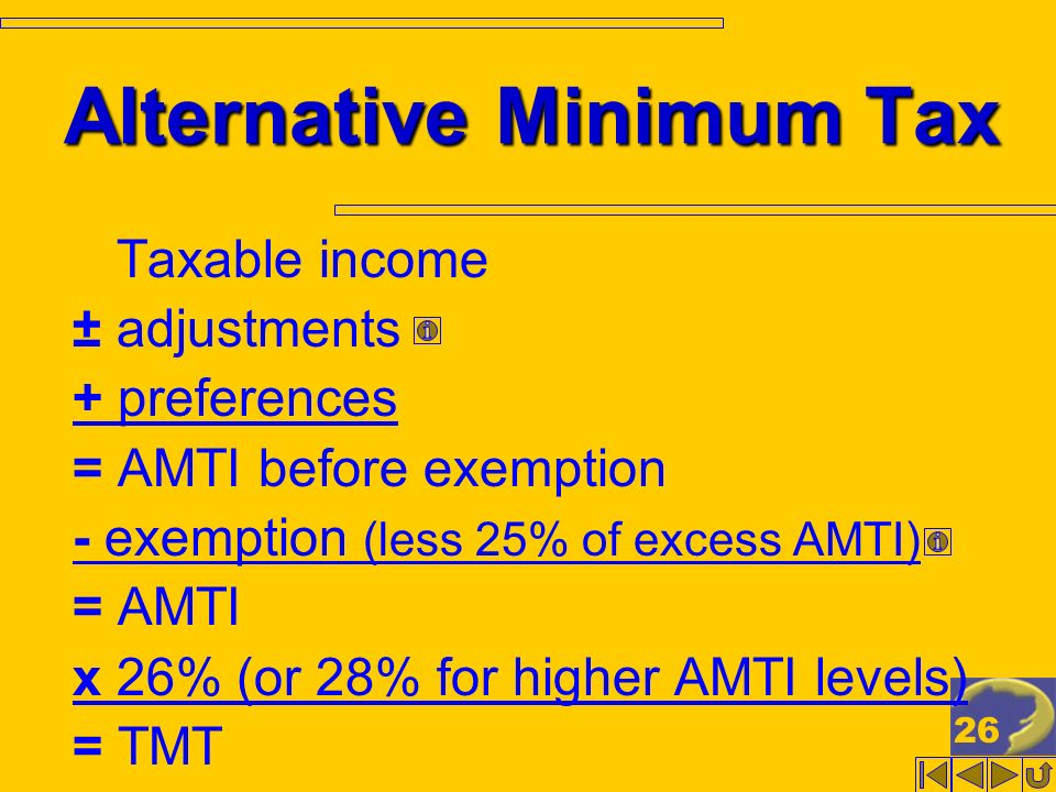26 Alternative Minimum Tax Taxable income ± adjustments + preferences = AMTI before exemption - exemption (less 25% of excess AMTI) = AMTI x 26% (or 28% for higher AMTI levels) = TMT