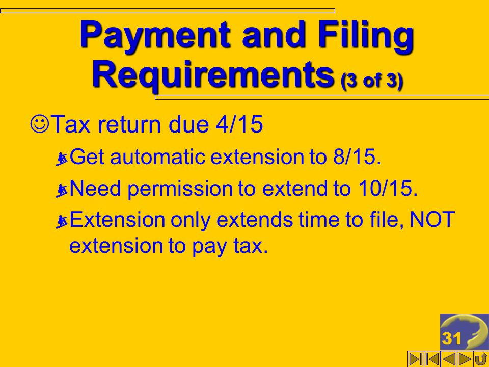 31 Payment and Filing Requirements (3 of 3) Tax return due 4/15 Get automatic extension to 8/15. Need permission to extend to 10/15. Extension only ex