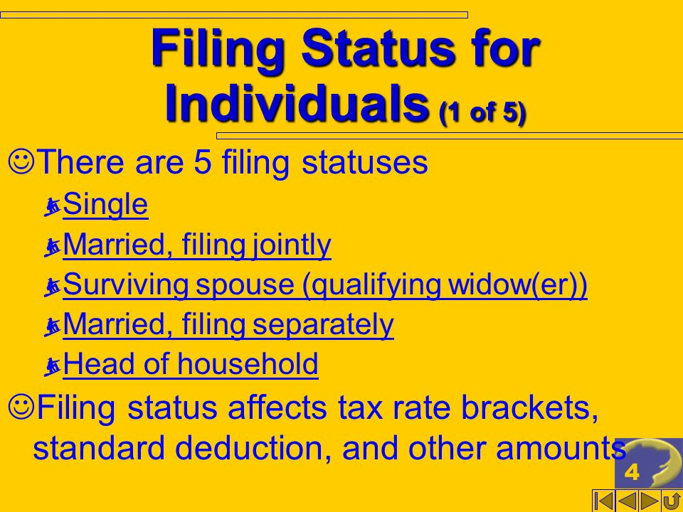 4 Filing Status for Individuals (1 of 5) There are 5 filing statuses Single Married, filing jointly Surviving spouse (qualifying widow(er)) Married, f