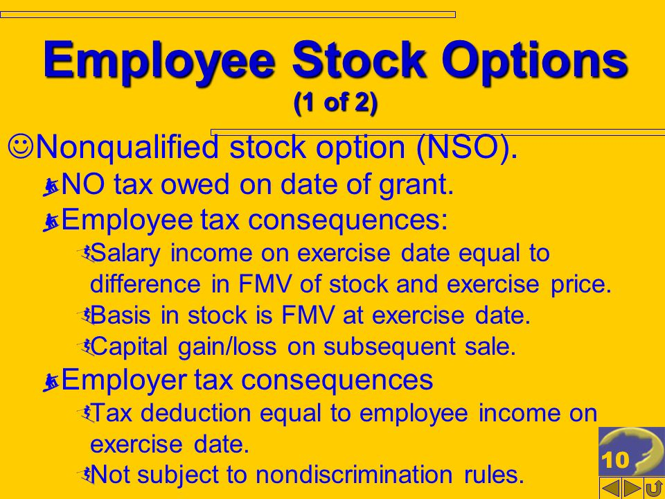 10 Employee Stock Options (1 of 2) Nonqualified stock option (NSO).