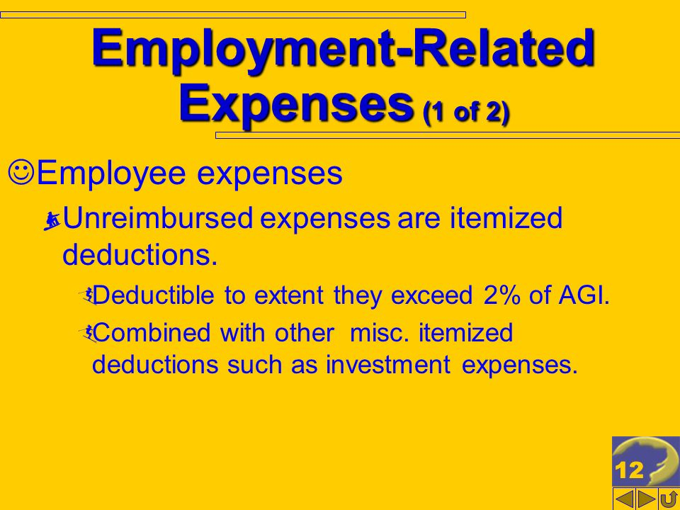 12 Employment-Related Expenses (1 of 2) Employee expenses Unreimbursed expenses are itemized deductions.