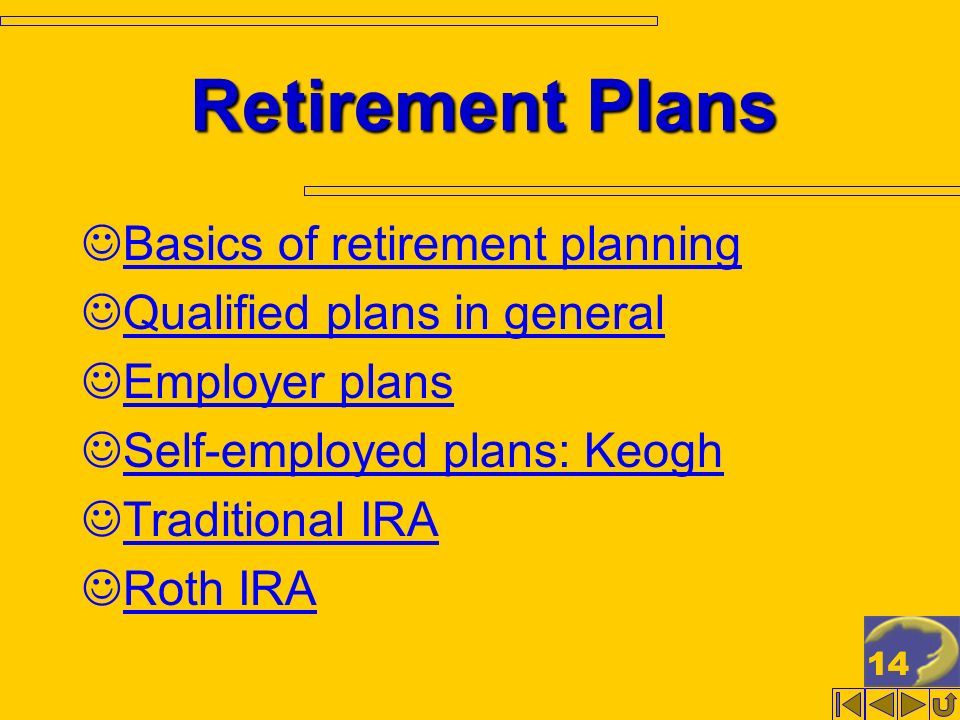 14 Retirement Plans Basics of retirement planning Qualified plans in general Employer plans Self-employed plans: Keogh Traditional IRA Roth IRA