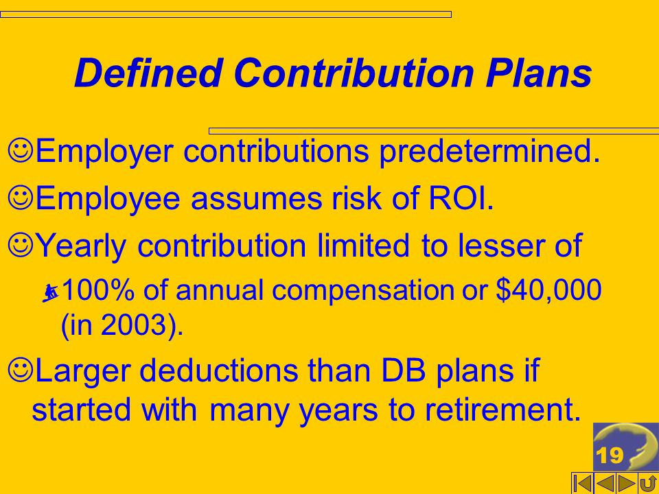 19 Defined Contribution Plans Employer contributions predetermined.