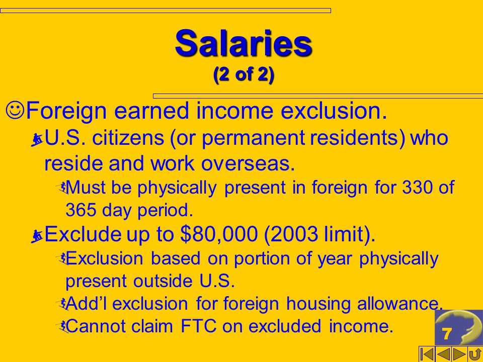 77 Salaries (2 of 2) Foreign earned income exclusion.