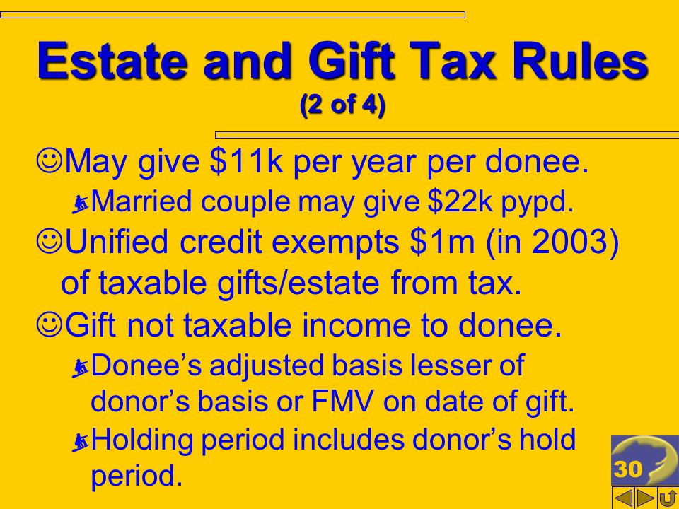30 Estate and Gift Tax Rules (2 of 4) May give $11k per year per donee. Married couple may give $22k pypd. Unified credit exempts $1m (in 2003) of tax