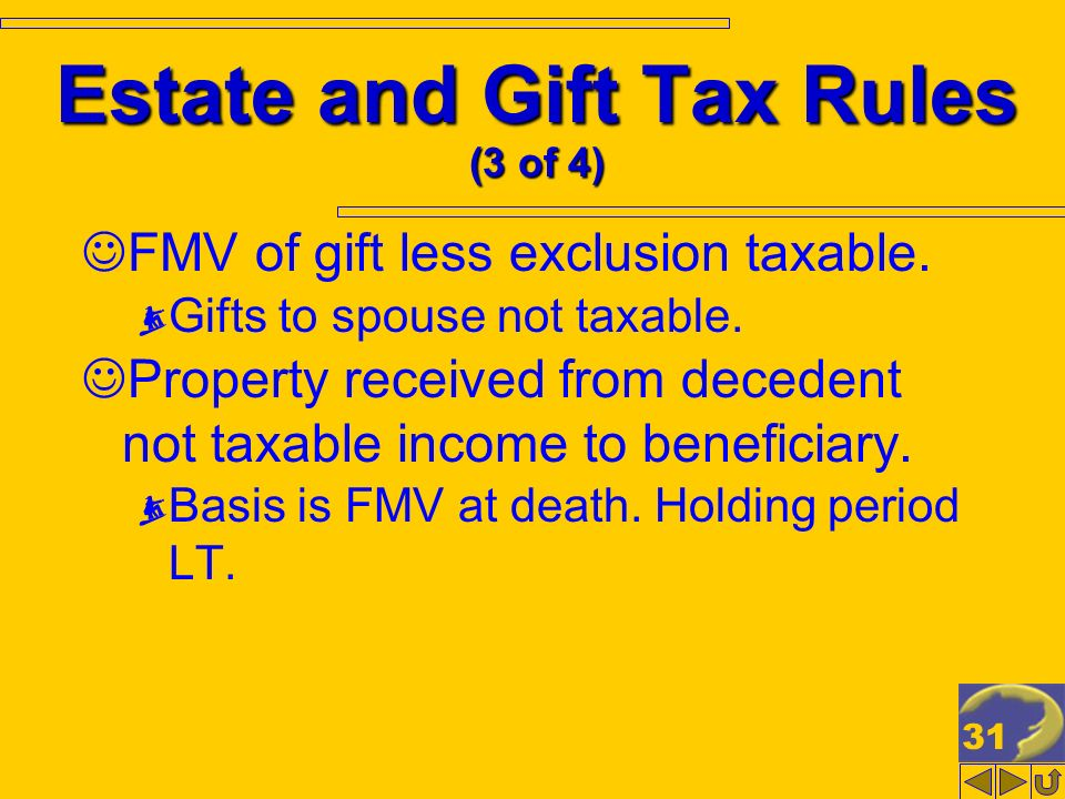 31 Estate and Gift Tax Rules (3 of 4) FMV of gift less exclusion taxable.