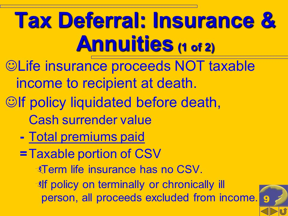 9 Tax Deferral: Insurance & Annuities (1 of 2) Life insurance proceeds NOT taxable income to recipient at death. If policy liquidated before death, Ca
